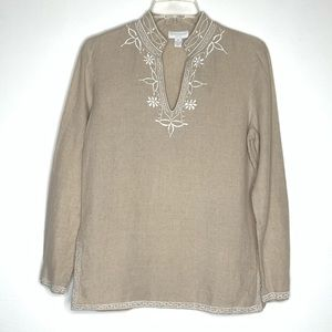 Charter Club Embroidered Linen Tunic Top Size 4P